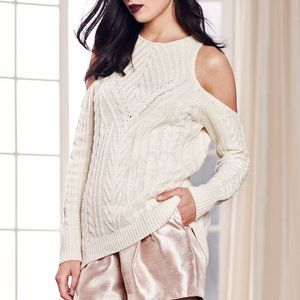 LAUREN CONRAD Ivory Cold Shoulder Sweater w/Pearls
